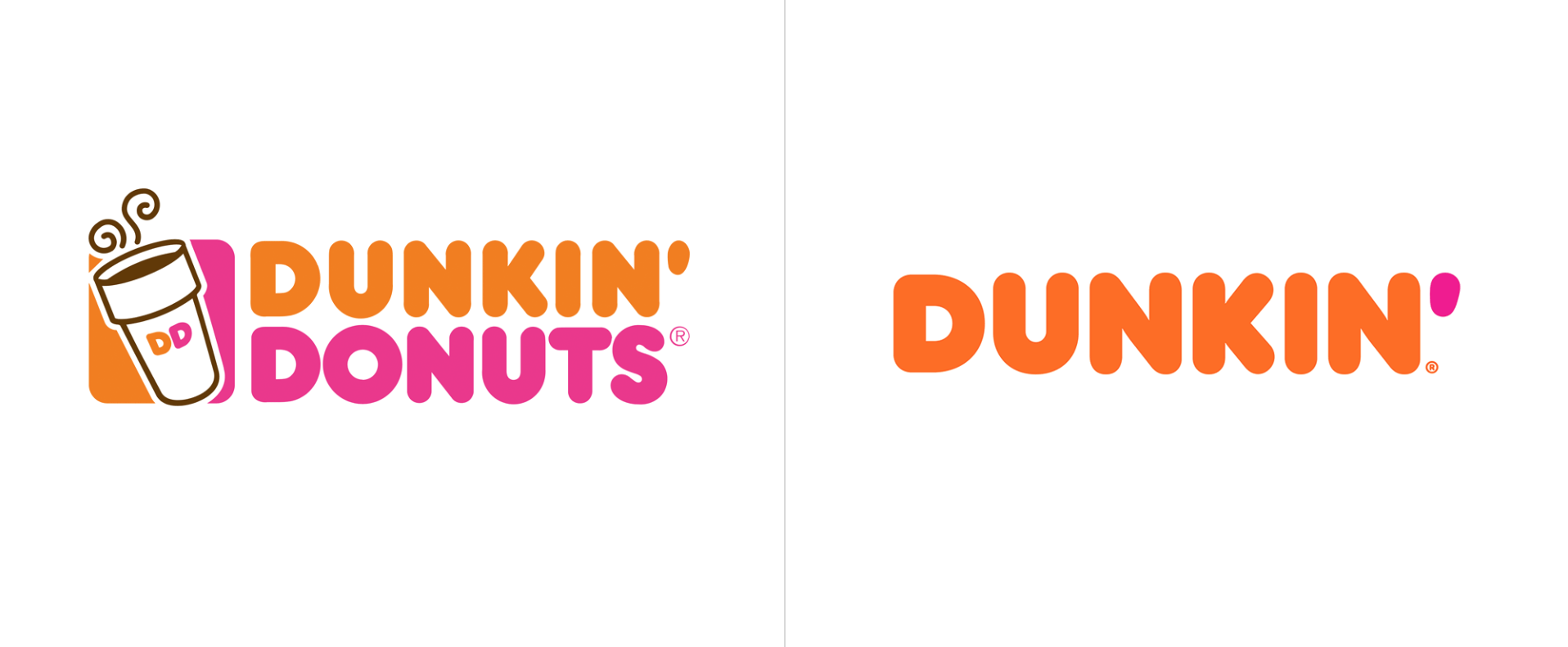 dunkin donuts old and new brand
