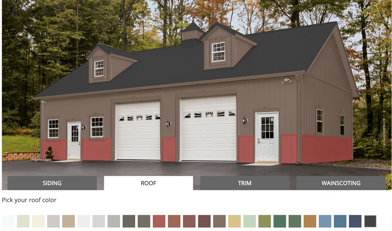 A. B. Martin Roofing Supply post frame color visualizer