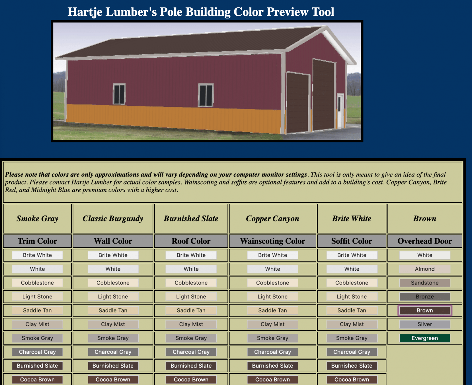 Hartje Lumber pole barn color visualizer